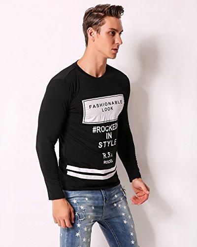 MODCHOK Herren Shirt Sweatshirt Drucken Langarmshirt Freizeitshirt Rundhals Hemd Basic T-Shirt Schwarz