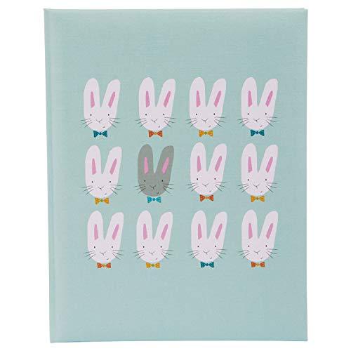 Goldbuch Babytagebuch Cute bunnies, Buch ca. 21x28 cm, Tagebuch für ein Baby mit 44 illustrierte Seiten, Babybuch mit Leinenstruktur, Mint, 11 038