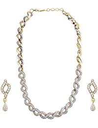 Geheney White American Diamond Necklace With Earrings For Women/Girls