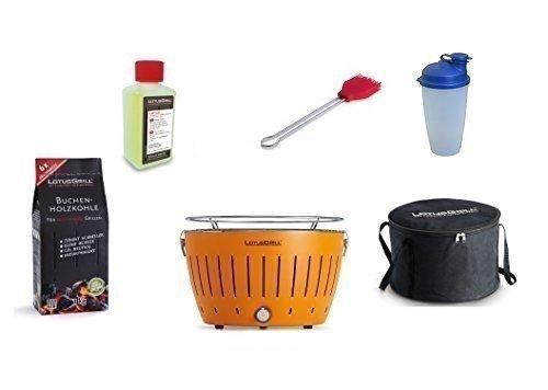 LotusGrill Kit de Démarrage 1x LotusGrill Couleur orange mandarine 1x Charbon de bois de hêtre 1kg,1x Pâte brûlante 200ml,1x Pinceau à marinade Rouge feu,1x Shaker de sauce,1x sac de Transport Le