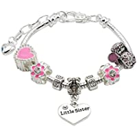 Jewellery Hut Little Sister Charm Bracelet in Pretty Pink Colour Theme With Gift Pouch