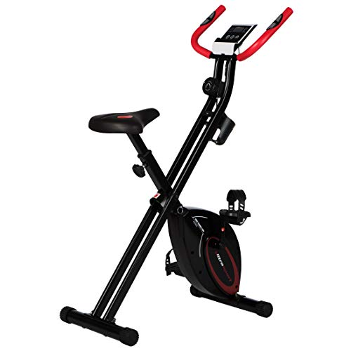 Ultrasport F-Bike Design, Fahrradtrainer, Heimtrainer, faltbares Fitnessbike mit Gelsattel, Flaschenhalter, LCD-Display, Handpulssensoren, kompakt und klappbar, belastbar bis 110 kg, Schwarz