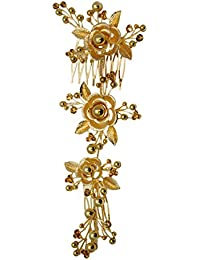 Mansiyaorange Metal Work Floral Funky Designer Latest Foldable Golden Hair Accessory/Hair Comb/Hair Clip/Hair...