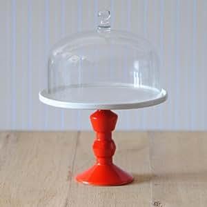 neu jansen co tortenplatte mit fu rot und glasglocke 22 0 cm k che haushalt. Black Bedroom Furniture Sets. Home Design Ideas