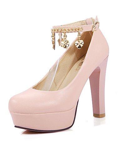 WSS 2016 Chaussures Femme-Bureau & Travail / Décontracté-Bleu / Rose / Blanc-Gros Talon-Talons / Bout Arrondi-Talons-Polyuréthane pink-us5 / eu35 / uk3 / cn34