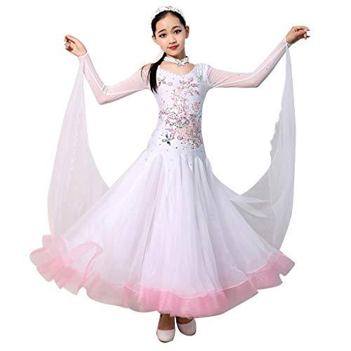 Dance Kostüm Line - Mädchen Standard Ballsaal Tanzen Wettbewerb Strass Kleider  Großer Tüll  A-Line-Swing Lange Ärmel Modern Dance Kostüm (Color : White, Size : L)