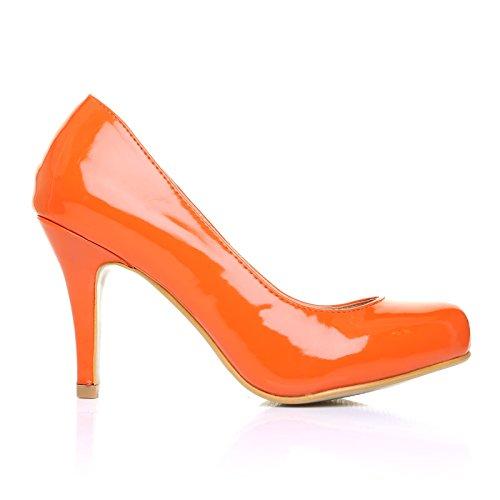 High Heels Stöckelschuhe Pearl orange Lackleder PU Leder Stilettos klassische Pumps - Oranges Lackleder, Synthetik, 6 UK / 39 EU