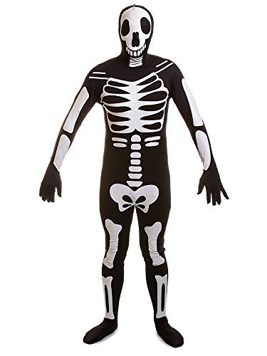 Rubies 2nd Skin Glow In The Dark Skeleton Skelett Kostüm (Schwarz) -Medium