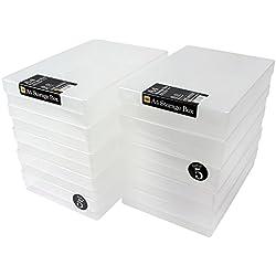 WestonBoxes A4Plastique Craft Boîtes de rangement (clair, Lot de 10)