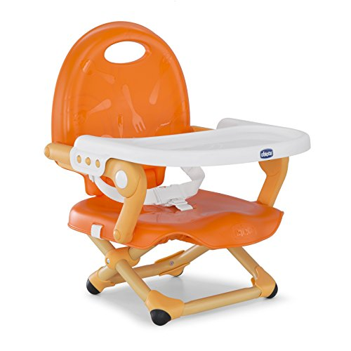 Chicco Pocket Snack Elevador asiento de silla regulable en 3 alturas para bebés, ligero 2 kg, color naranja...