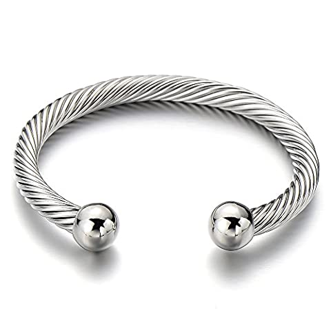 Unisex Elastic Adjustable Stainless Steel Twisted Cable Bangle Bracelet for Men Women Silver Color