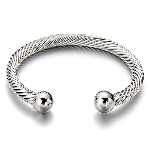 unisex-elastic-adjustable-stainless-steel-twisted-cable-bangle-bracelet-for-men-women-silver-color