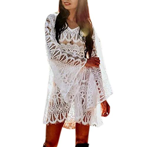 TUDUZ Langarm Spitze Damen Strandkleid Loose Bikini Cover Up Swimwear Strandmode für Urlaub S-XL(Small,Weiß)