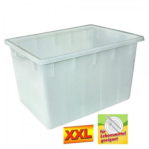 Kunststoffwanne 170 Liter, LxBxH 800 x 600 x 490 mm, PE-HD Kunststoff, weiß, lebensmittelecht
