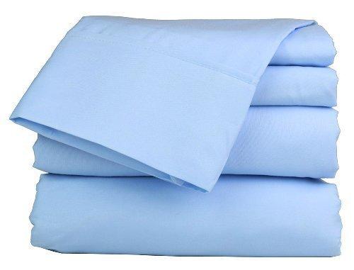 Rajput Textiles Spannbetttuch, 100% ägyptische Baumwolle, Fadenzahl 400, 38 cm, extra Tiefe Tasche, Doppelbett, Himmelblau -