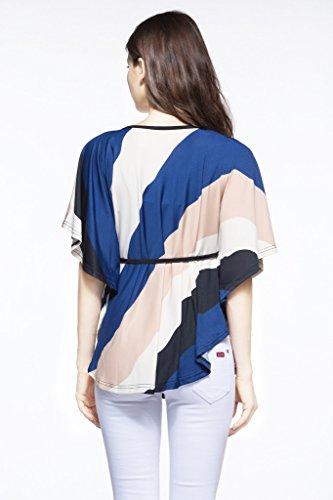 Damen Lose Blusen Tops T-Shirts Hemd Grundiert Fledermausärmel Gestreift Rundkragen Große Größen Oberteil Grundiert Dunkelblau