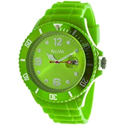 Nuvo - NU13H11 - Unisex Armbanduhr - Quartz - Analog - Grünes Zifferblatt - Grünes Armband aus Silikon - Modisch - Elegant - Stylish