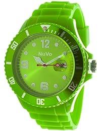 NuVo - NU13H11 - Montre Mixte tendance - Quartz Analogique - Cadran vert - Bracelet Silicone vert