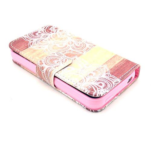 MOONCASE iPhone 4 Case Motif Conception Coque en Cuir Portefeuille Housse de Protection Étui à rabat Case pour iPhone 4 4S P27