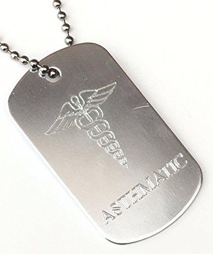 asmatica SOS MEDICAL ALERT ID Tag color argento + catena + 59mm Button Badge