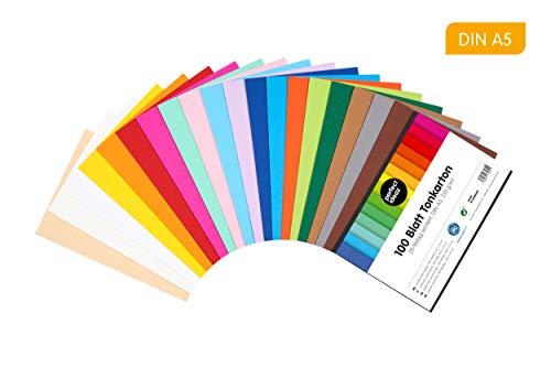 perfect ideaz 100 Blatt DIN-A5 Ton-Karton bunt, Bastel-Papier, Bogen durchgefärbt, 20 verschiedene Farben, 210g /m², Foto-Zeichen-Pappe zum Basteln, buntes Blätter-Set farbig, DIY-Bedarf -