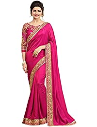 Magneitta Women's Embroidered Paper Silk Saree With Blouse Piece
