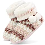 Tarjane Damen Hausschuhe mit Bommel | Home Boots warm gefüttert | Wellness Haus Stiefel - Rosa - 39/40