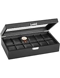 2d636cce79f0 SWEETV Negro Caja para Relojes con 12 Compartimentos Joyería Soporte de  Exhibición ...
