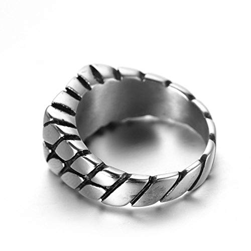 Fashion Simple Square Titanium Steel Ring Men's Rim Ring Jewelry@7 Square Rim