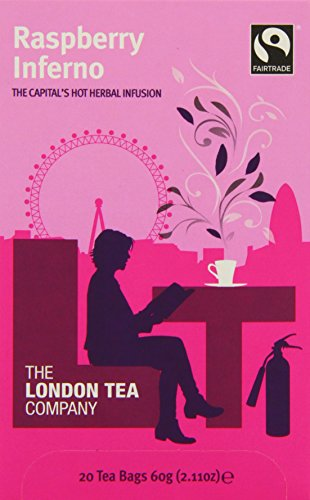 The London Tea Company Raspberry Inferno 20 Enveloped Infusion Bags 40g (Pack of 6, Total 120 Bags)