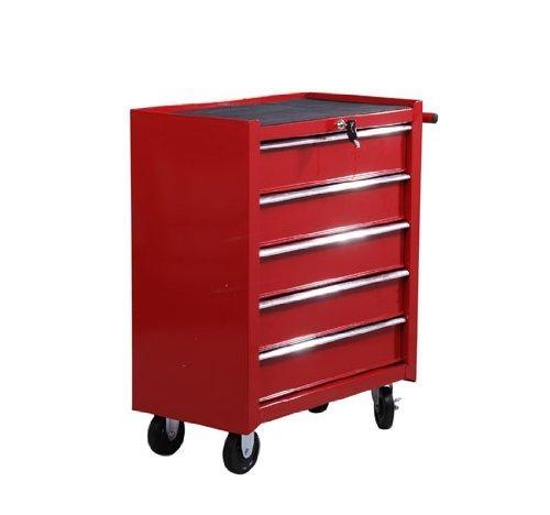 Homcom® Fahrbarer Werkstattwagen Werkzeugwagen Rollwagen Werkzeugkasten mit 5 Schubladen rot - 6