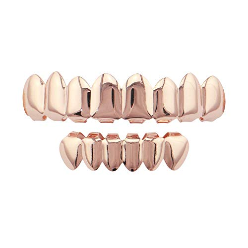 Top Bottom Tooth Caps für den Mund Gold 8 Top und 6 Bottom Grille Set Shiny Hip Hop Teeth Grill (Farbe: Glossy Rose Gold) - Glossy Rose
