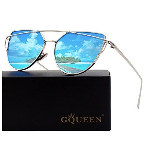 GQUEEN Polarisierte Cat Eye Sonnenbrille für Frauen mit gespiegeltem Metallrahmen MS4
