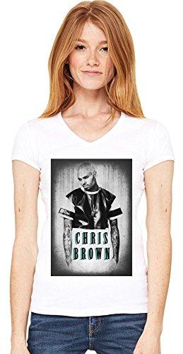 Grunge Chris Brown Damen V-Ausschnitt T-Shirt XX-Large