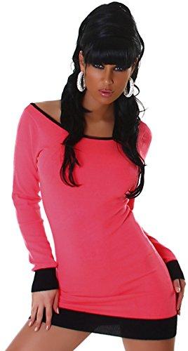 Jela london robe en tricot pour femme avec patte décorative avec boutons dans le dos Rose - dunkelpink schwarz