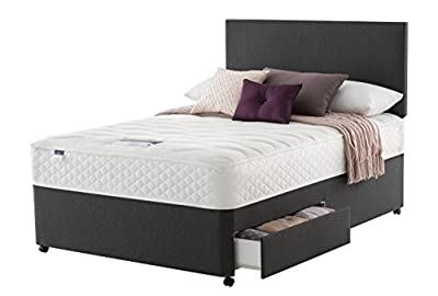 Silentnight Stratus Miracoil Memory 2-Drawer Divan Bed, Double, Charcoal - inexpensive UK light store.