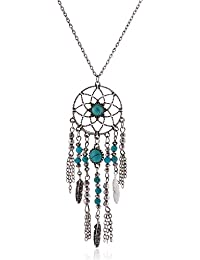 Lureme Native American Atrapasueños Turquesa Pendant Largo Cadena Collar (01003467) (Antique Plata)