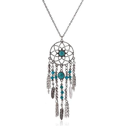 lureme® nativo americano lunga catena dreamcatcher ciondolo turchese Collana (01003467-1) argento antico - Nativo Americano Del Turchese Orecchini