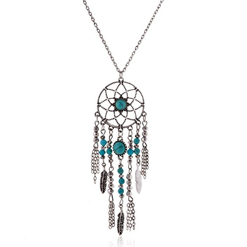 Lureme Native American Atrapasueños Turquesa Pendant Largo Cadena Collar (01003467) (Antique Plata)
