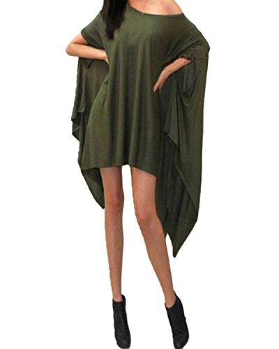 ZANZEA Femme Loisir Lâche Epaule Irrégulier Habillé Longues Haut Mini Robe Army Green