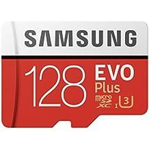 Samsung EVO Plus - Tarjeta de memoria de 128 GB y adaptador SD rojo