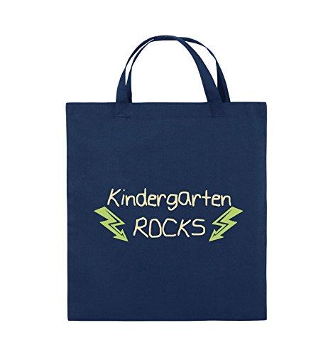 Comedy Bags - Kindergarten rocks - BLITZE - Jutebeutel - kurze Henkel - 38x42cm - Farbe: Schwarz / Weiss-Neongrün Navy / Beige-Hellgrün