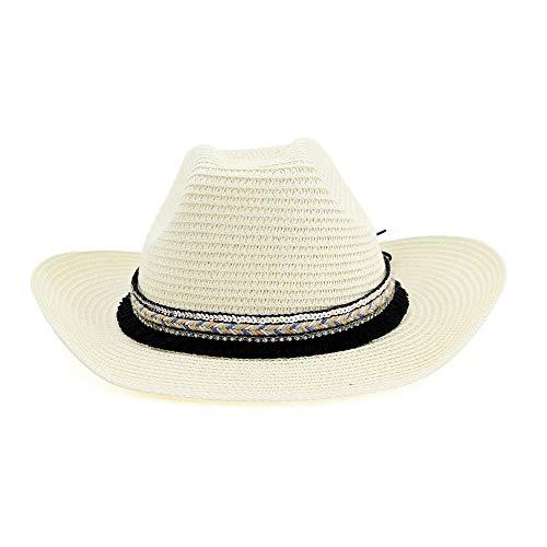 Kostüm Nationalen Männer - HÖHERE MÄNNER Fashion Classic Western Cowboyhut National Wind Männer Frauen Outdoor Strand Hut Farbe Gewebt Gürtel Quaste Einfarbig Sonnenblende Sonnenhut (Farbe : Light Khaki, Größe : 56-58CM)