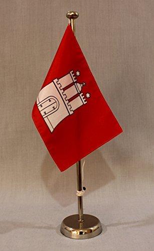 Hamburg 15x25 cm Tischflagge (CH) mit 42 cm Chrom Tischflaggenständer, edle Ausführung