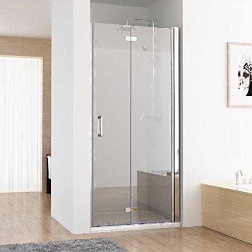 MIQU Nischentür Duschabtrennung Duschwand Dusche 180° Falttür Nano ESG 80 x 185 cm