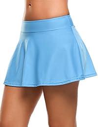 8206bd417e9834 Skine Badeshorts Damen Bikini Rock Strand Rock mit Integrierter Hose Hohe  Taille Mini Bikinihosen Bottom mit