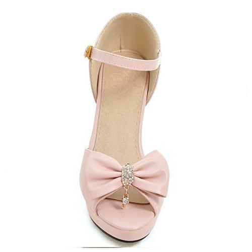TAOFFEN Femmes Peep Toe Sandales Mode Bloc Talons Hauts Chaussures De Boucle De Bowknot Rose