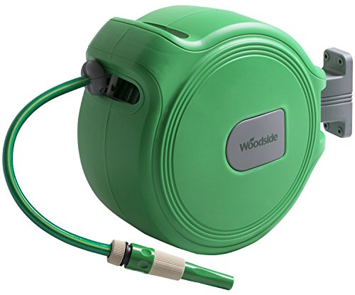 This Woodside 20m Auto Rewind Garden Water Hose Reel is one of the cheapest tools on the market, going for around £50. Even at that price, this hose reel has got all the features you see in other expensive models. The hose is only 20 metres long but that's perfect for small to medium gardens. It measures 33 x 17 x 42cm and it's pretty lightweight and simple to use.