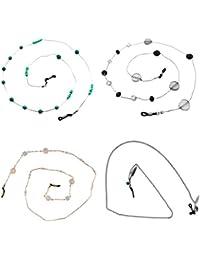 Gazechimp Lot de 4pcs Cordon de Lunettes Chaîne en Alliage avec Boule en Strass Coquille Support Lunettes