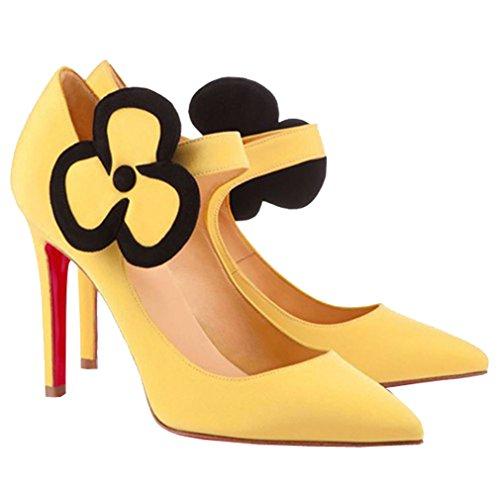 Toe Stiletto Flower Haute Court Talon Pointed de ENMAYER Party Robe Womens Soirée Matière PU Pumps Shoes Velcro Nubuck Jaune Sexy qvzXw08z